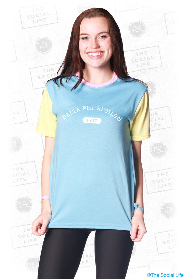 Delta Phi Epsilon Color Block Tee