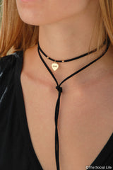 Delta Phi Epsilon Leather Wrap Necklace