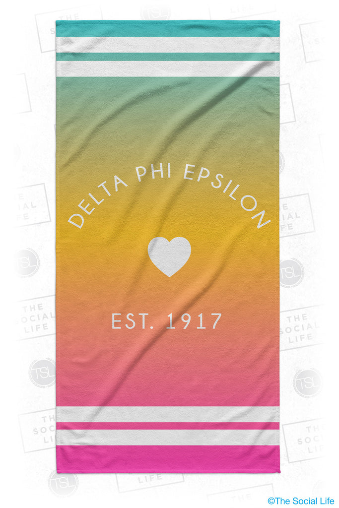 Delta Phi Epsilon Rainbow Heart Beach Towel