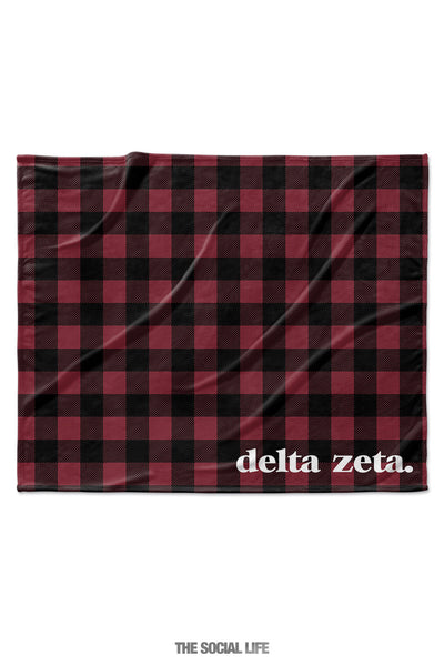 Delta Zeta Plaid Velvet Plush Blanket