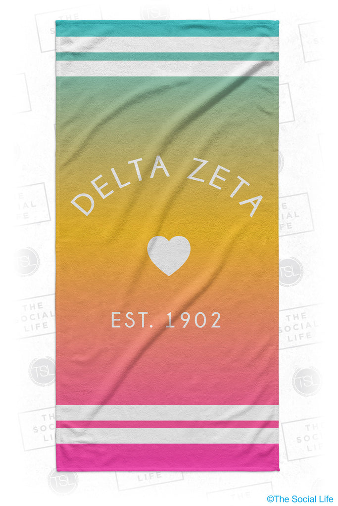 Delta Zeta Rainbow Heart Beach Towel