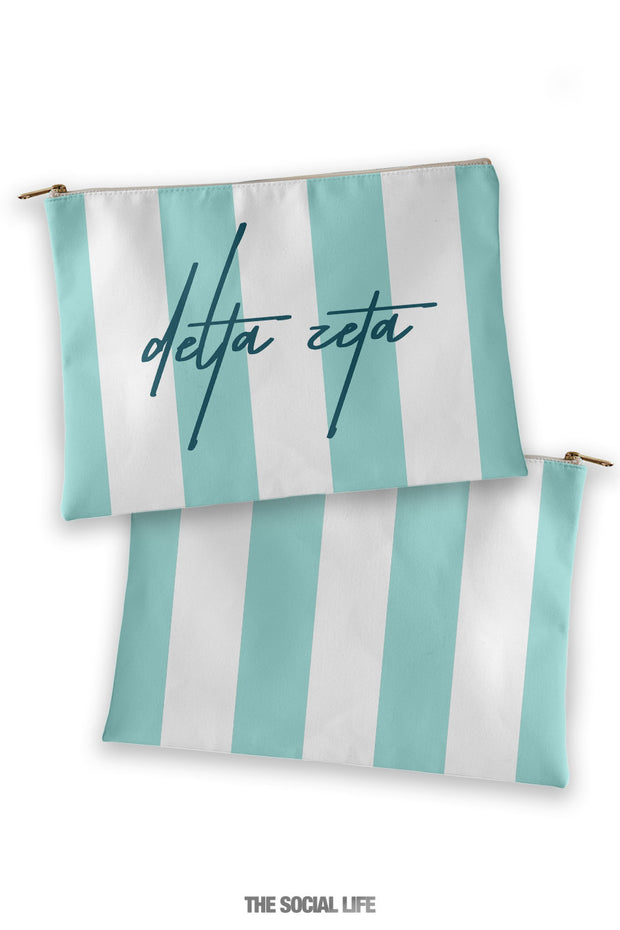 Delta Zeta Striped Cosmetic Bag