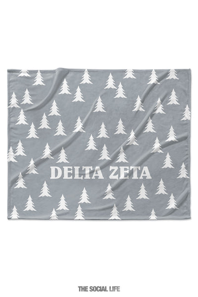 Delta Zeta Grey Pines Velvet Plush Blanket