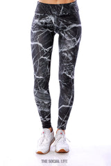 Alpha Omicron Pi Black Marble Leggings