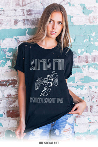 Alpha Phi Angel Vintage Distressed Tee