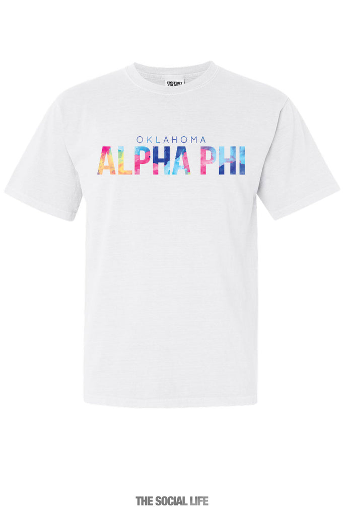 Oklahoma APhi Comfort Color Watercolor Letters