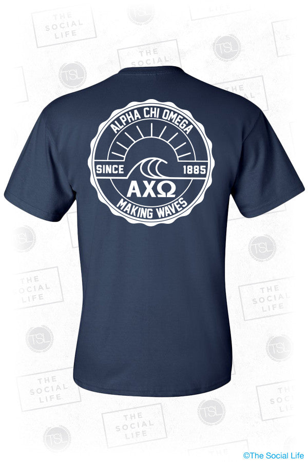 UCSB AXO Waves Pocket Tee