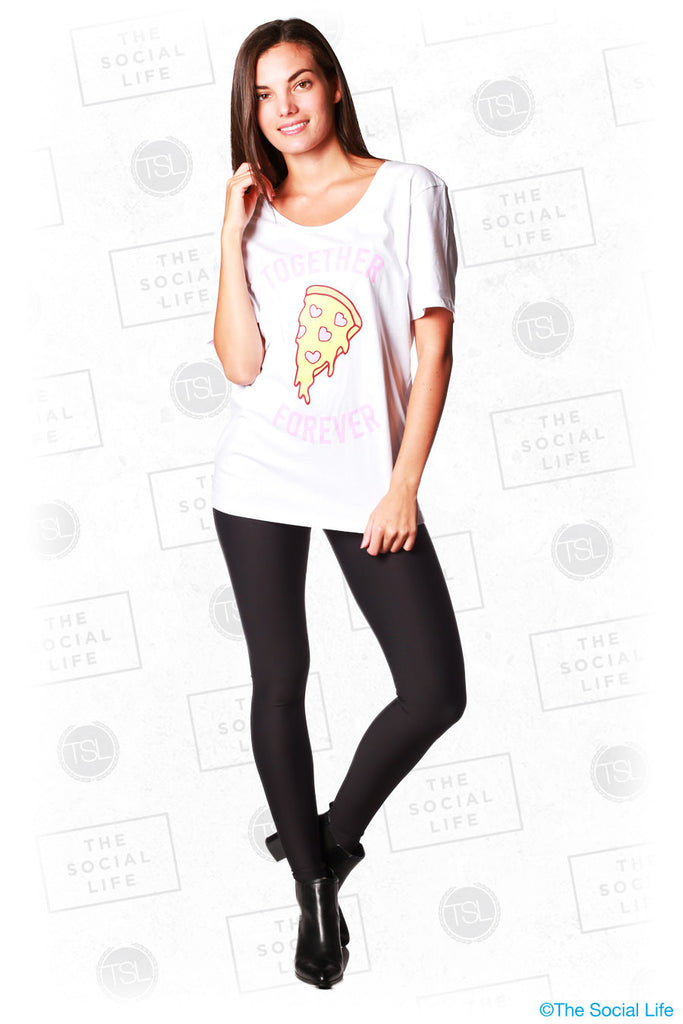 Together Forever W/ Pizza Wide Neck Tee