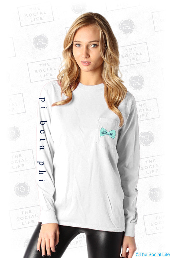 Pi Beta Phi Bow Longsleeve Pocket Tee