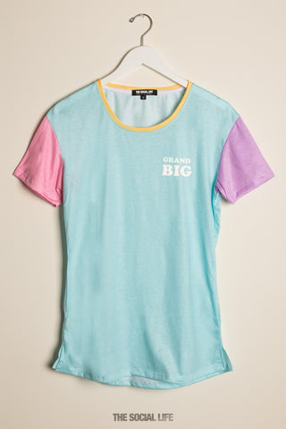 Grand Big Pastel Colorblock Scoop Tee