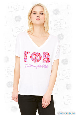 Gamma Phi Beta Floral Letters Slouchy Tee