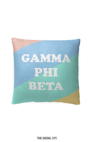 Gamma Phi Beta Pastel Colorblock Pillow