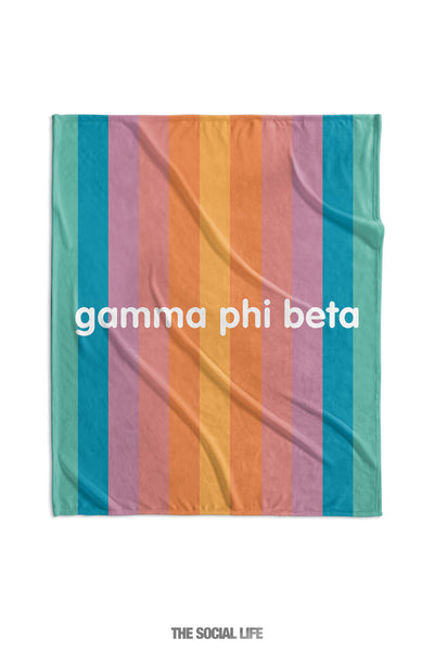 Gamma Phi Beta Horizon Stripe Velvet Plush Blanket