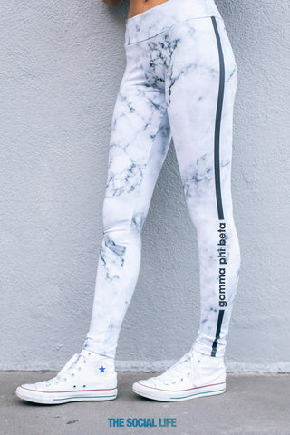 Gamma Phi Beta White Marble Leggings