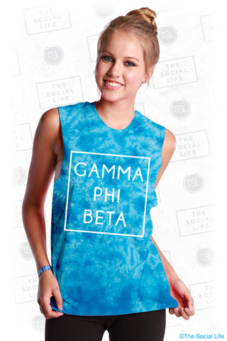 Gamma Phi Beta Boxed Tie Dye Muscle Tank