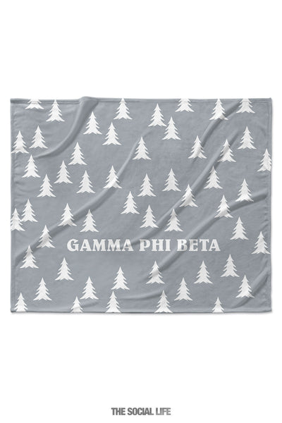 Gamma Phi Beta Grey Pines Velvet Plush Blanket