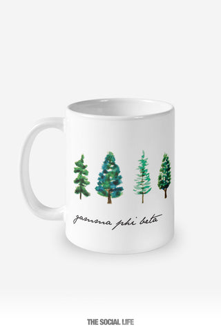 Gamma Phi Beta Watercolor Pines Mug