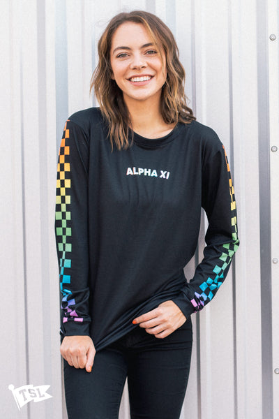Alpha Xi Delta Rainbow Checkered Long Sleeve