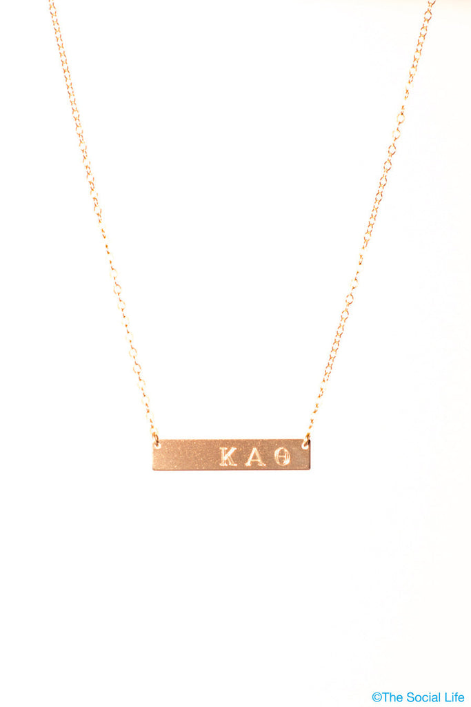 Kappa Alpha Theta 14K Gold Nameplate Necklace