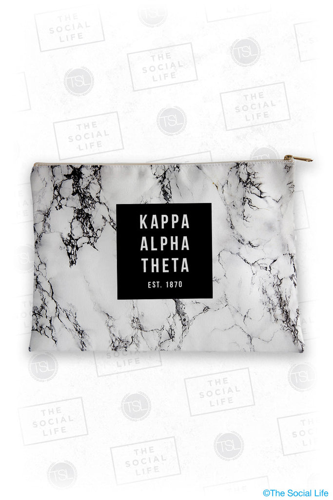 Kappa Alpha Theta White Marble Cosmetic Bag