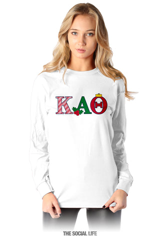 Kappa Alpha Theta Holiday Letters Long Sleeve