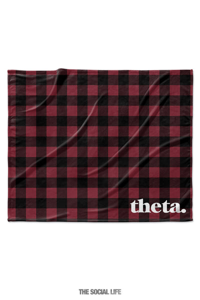 Kappa Alpha Theta Plaid Velvet Plush Blanket