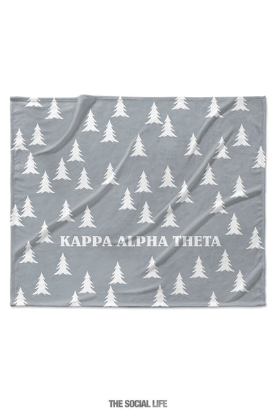 Kappa Alpha Theta Grey Pines Velvet Plush Blanket