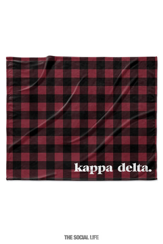 Kappa Delta Plaid Velvet Plush Blanket
