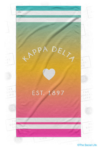 Kappa Delta Rainbow Heart Beach Towel