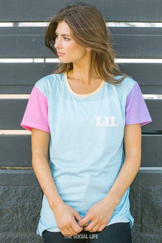 Little Pastel Colorblock Scoop Tee