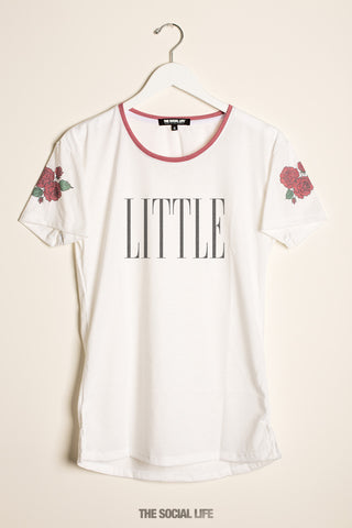 Little Rose Shoulder Scoop Tee