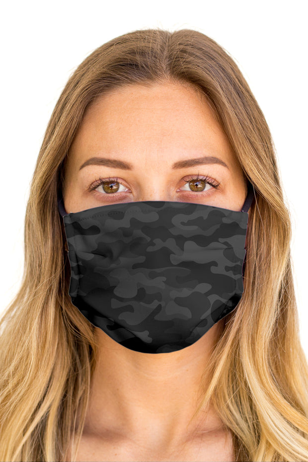 Camo Black Face Mask (Anti-Microbial)