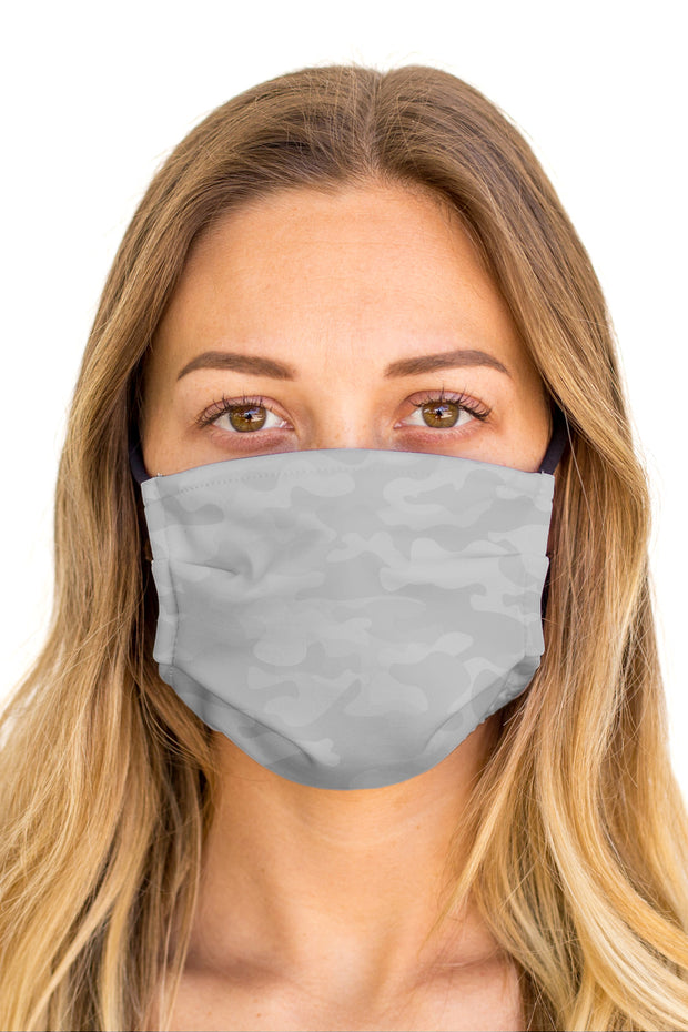 Camo Grey Face Mask (Anti-Microbial)