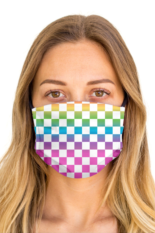 Checkered Rainbow Face Mask (Anti-Microbial)
