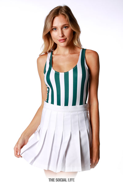 Game Day Striped Bodysuit - Green / White