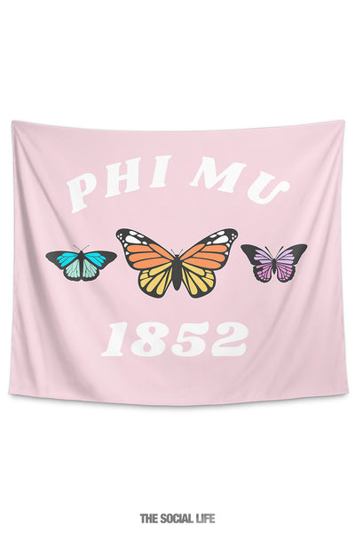Phi Mu Butterfly Tapestry