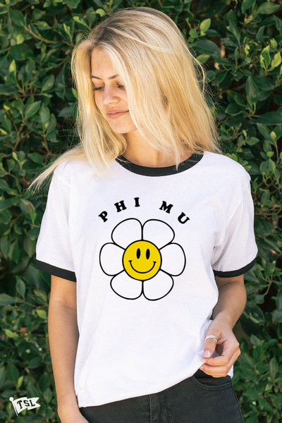 Phi Mu Smiley Flower Ringer Tee