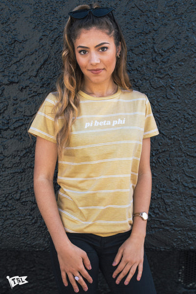 Pi Beta Phi Striped Mustard Boyfriend Tee