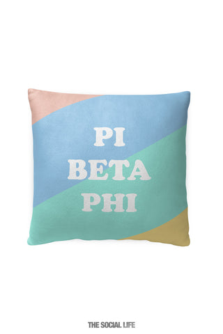 Pi Beta Phi Pastel Colorblock Pillow