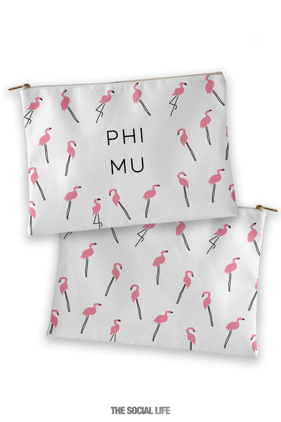 Phi Mu Flamingo Cosmetic Bag