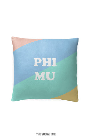 Phi Mu Pastel Colorblock Pillow
