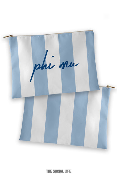 Phi Mu Striped Cosmetic Bag