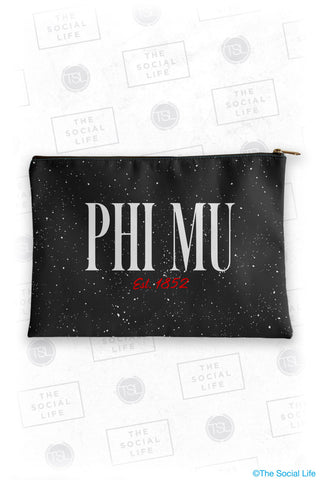 Phi Mu Speckle Cosmetic Bag