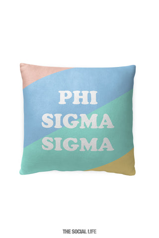 Phi Sigma Sigma Pastel Colorblock Pillow