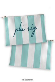 Phi Sigma Sigma Striped Cosmetic Bag