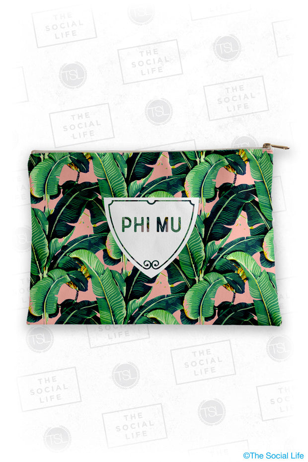 Phi Mu Tropical Leaf Cosmetic Bag