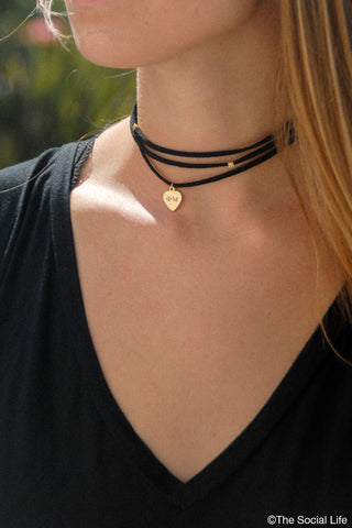 Phi Mu Leather Wrap Necklace