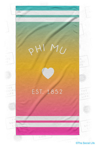 Phi Mu Rainbow Heart Beach Towel