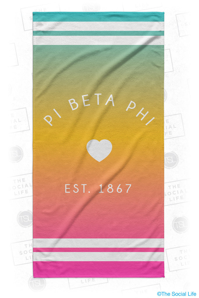 Pi Beta Phi Rainbow Heart Beach Towel