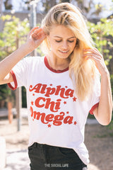 Alpha Chi Omega Stardust Relaxed Ringer Tee
